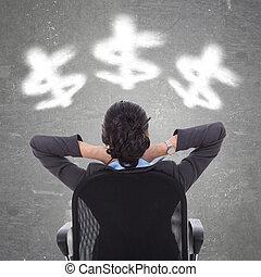 business woman looking at cloudy dollar symbols
