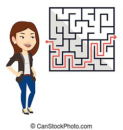 Business woman looking at labyrinth with solution.