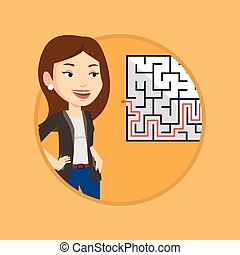 Business woman looking at labyrinth with solution