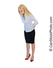 Business woman looking down - Isolated business woman...