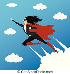 Business woman looking like Super hero flying to success in sky,