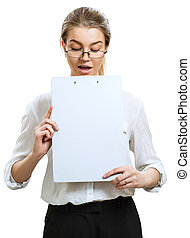 Business woman looking on clipboard with surprised.