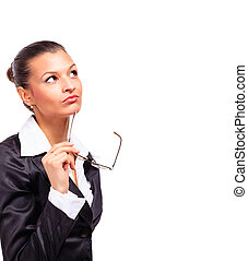 business woman looking on white blank