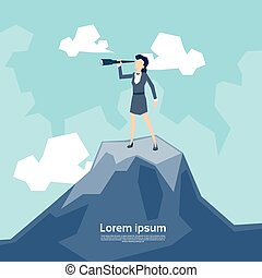 Business Woman Looking Through Telescope Standing on Top Mountain