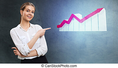 Business woman looks on increase schedule with growth arrow.