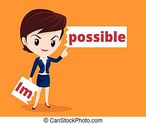 business woman make possible - Vector business concept of ...