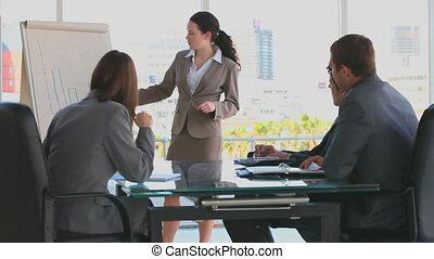 Business woman making a presentation in front of three...
