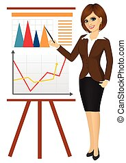 business woman making a presentation against graphics on flip chart