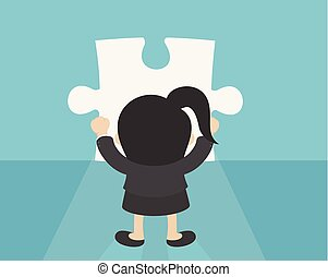 Business Woman making a puzzle