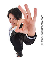 business woman making ok sign - wide angle picture of an...