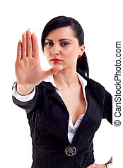 woman making stop sign - Business woman making stop sign -...