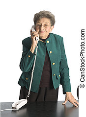 business woman mature on phone - mature senior business...