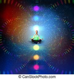 business woman meditating - Businesswoman sitting in lotus...