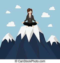 Business woman meditating on a mountain peak. Business...