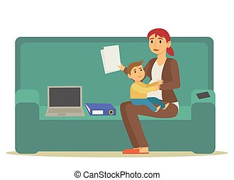 Business Woman Mother with Son Working Vector