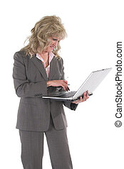 Business Woman Multitasking With Cellphone and Laptop 2
