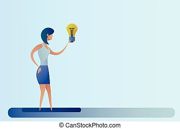 Business Woman New Creative Idea Concept Hold Light Bulb
