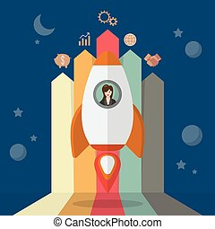 Business woman on a rocket with arrow bar chart