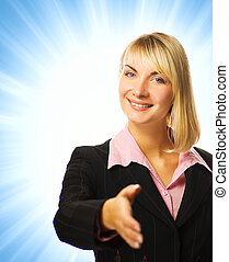 Business woman on abstract blue background