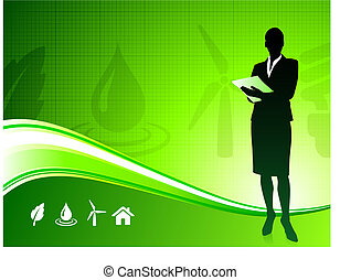 Business woman on green environment background