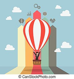 Business woman on hot air balloon with arrow bar chart