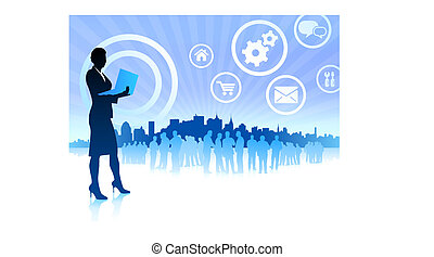 business woman on internet skyline background with icons