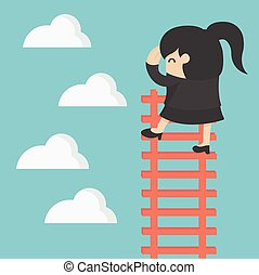 business woman on ladder Looking for success
