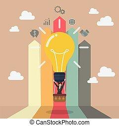 Business woman on lightbulb balloon with arrow bar chart