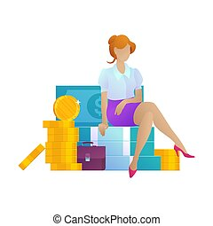 Business woman on money cartoon concept