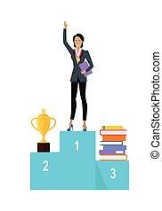 Business Woman on Pedestal of Winners