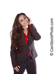 Business woman on phone happy