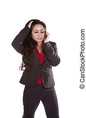 Business woman on phone upset