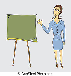 Business woman on the board shows