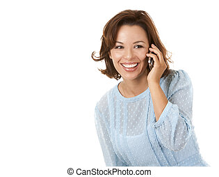 business woman on the phone - beautiful brunette wearing ...