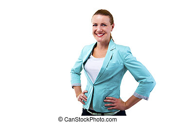 business woman on white background isolated