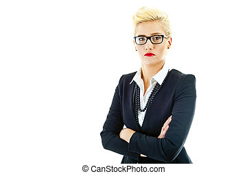 Business woman on white background with glasses