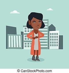 Business woman opening her coat like superhero.