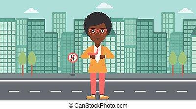 Business woman opening her jacket like superhero.