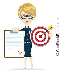 Business woman or manager shows contract and target