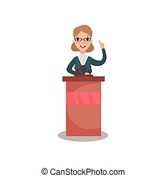 Business woman or politician character speaking to audience from tribune, public speaker, political debates, side view vector Illustration