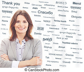 Business woman or teacher in office. Different world languages c