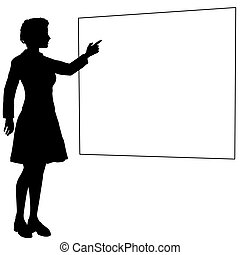 Business woman or teacher points hand sign board