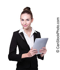 Business Woman or teacher using tablet pc