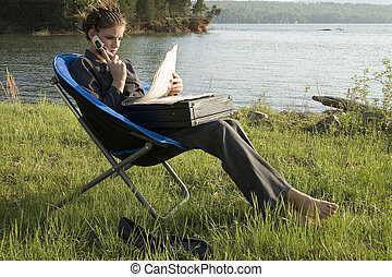Business Woman Outdoors by Lake