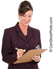 Beautiful Businesswoman Taking Notes. Holding pen and clipboard. Smiling. Shot in studio.