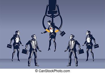 Business Woman Picked By Fish Crane Machine Blue Collar Illustration Concept