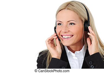business woman -  business woman speak with headset