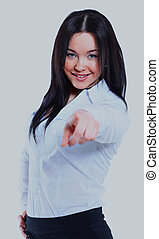 Business woman point finger at you. Isolated on white background.