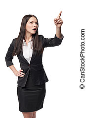 Business woman pointing at blank copy space