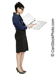 Business Woman Pointing at Document